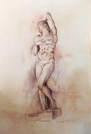 Figure Study (of a sculpture by Michelangelo) | 2003 | Pastel and Charcoal on Paper