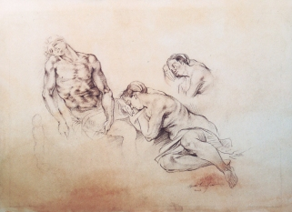 Figure Studies (after Michelangelo and Anthony Van Dyck | 2003 | Charcoal on Paper