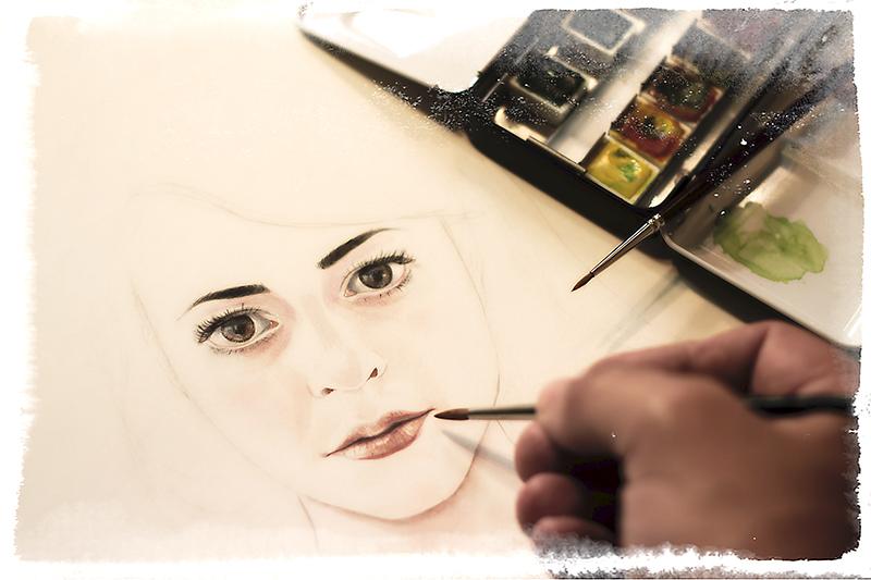 Working on the album cover portrait of Francesca de Valence.